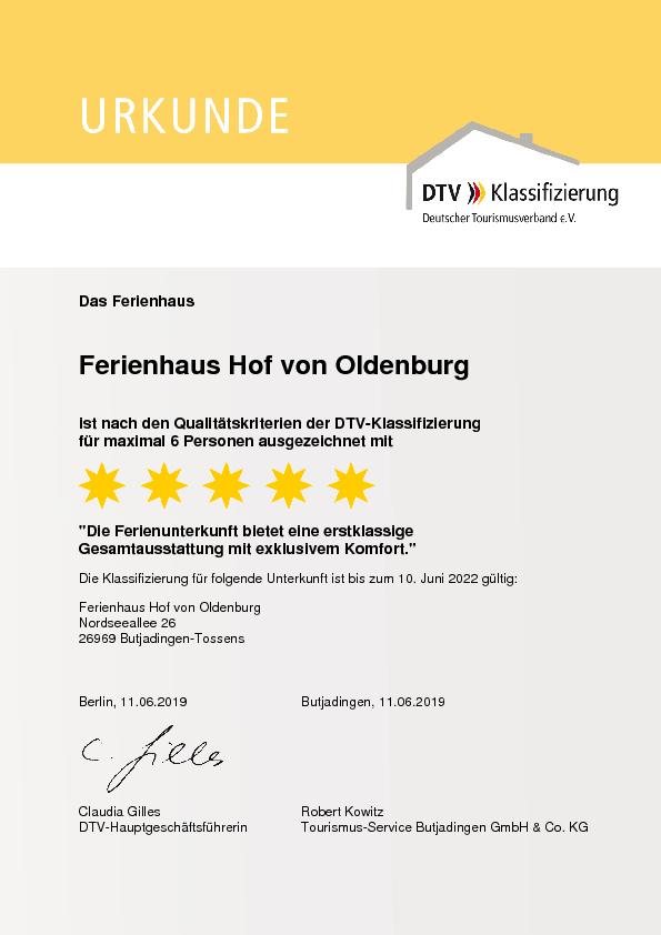DTV Klassifizierng Ferienhaus Hof von Oldenburg